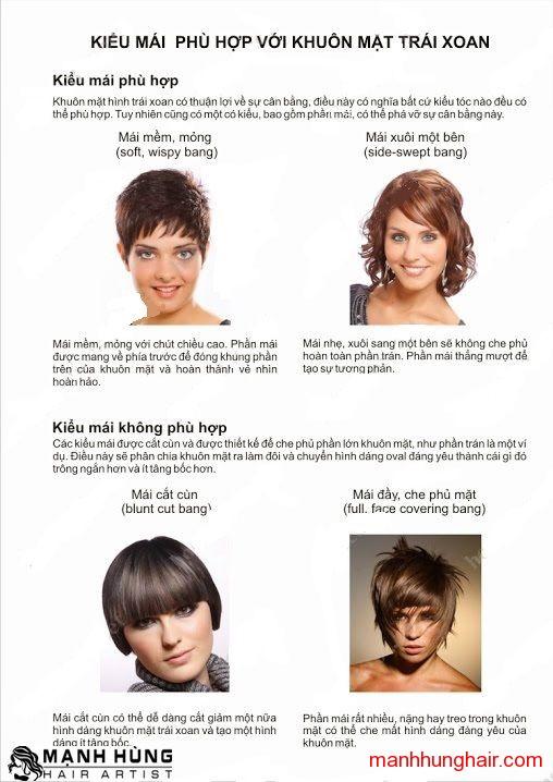 Kiểu tóc Cho Khuôn Mặt Trái Xoan